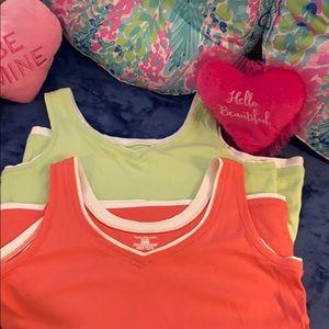 Jones NY lime & peach tank tops w/layered look
